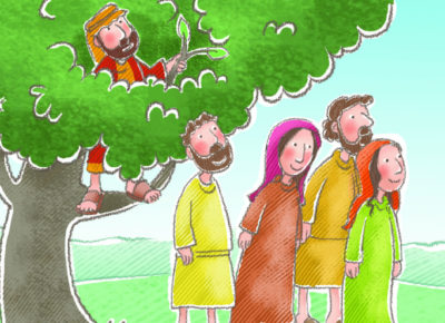 A cartoon drawing of Zacchaeus in a tree.