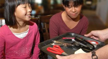 Two children observe a tray with random objects on it.
