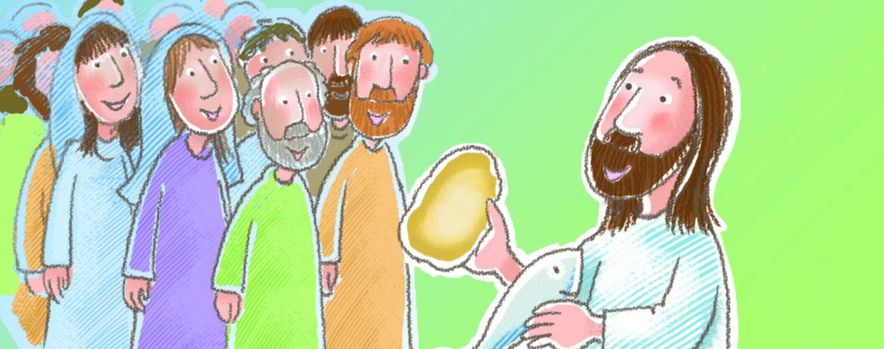 A cartoon drawing of Jesus showing the disciples the loaves and fish before he feeds the 5,000.