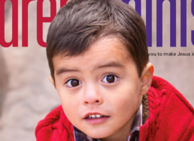 The cover of the January/February 2016 issue of Children's Ministry Magazine. It features a boy in a read sweater.