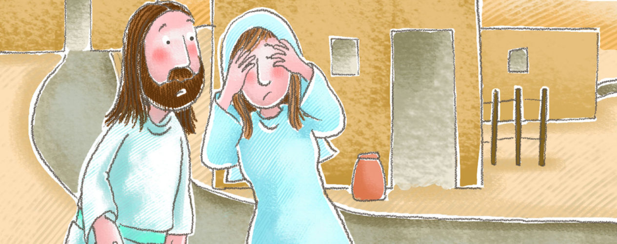 A cartoon of Jesus talking to Lazarus' sister before raising him from the dead.