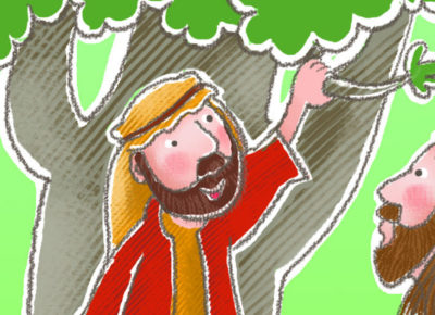 A cartoon drawing of Jesus talking to Zaccheaus in a tree.