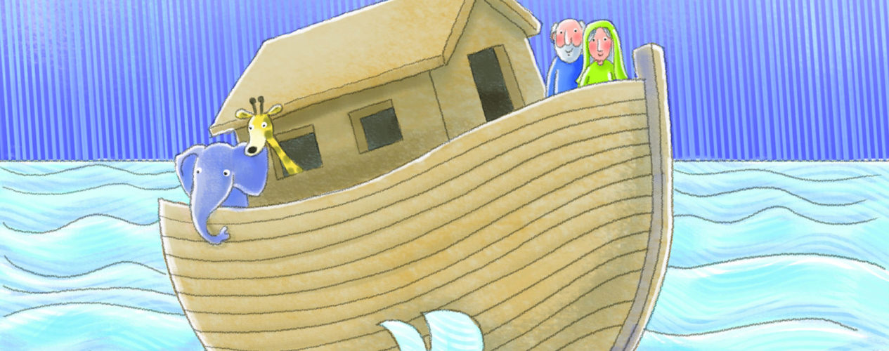 A cartoon drawing of Noah and his wife on the Ark.