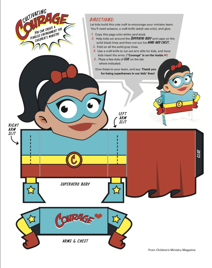 Courage Hero, Girl cutout and instructions