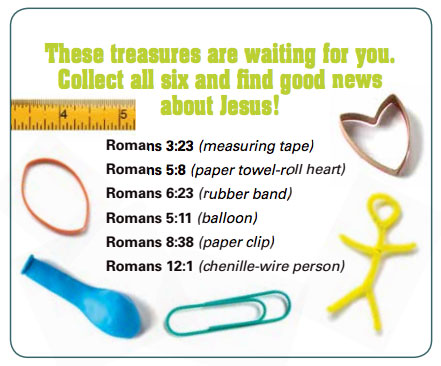 "Checklist for Romans activity. It reads ""These treasure are waiting for you. Collect all six and find the good news about Jesus!"""
