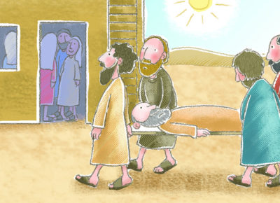 A cartoon of four friends carrying their paralyzed friend on a stretcher through a Biblical town. Other people are watching them through the windows of their dwellings.