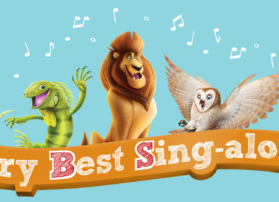Three cartoon characters with music notes surrounding them sit atop a banner that says the Very Best Sing-Along.